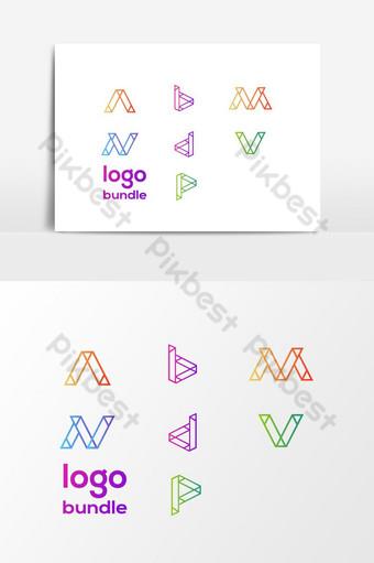 Paquete de logotipo de 7 letras a b m n d v p elemento de gráficos vectoriales Elementos graficos Modelo AI