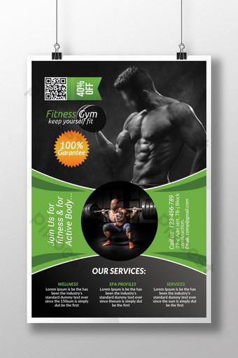 Flyer vert et gris Body Fitness Club Modèle PSD