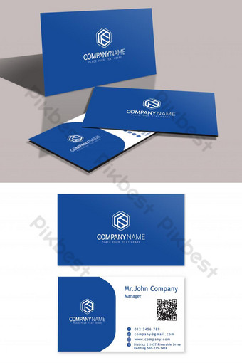diseño de tarjeta de visita con nombre azul moderno Modelo AI