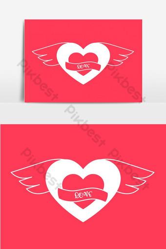 elemento de gráficos vectoriales de diseño de logotipo de corazón volador Elementos graficos Modelo AI