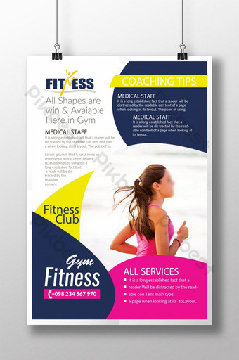 Flyer du club d'entraîneurs Dynamic Body Fitness Modèle PSD