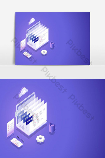 Processing of software and programming development Isometric Vector Graphics Element PNG Images Template EPS