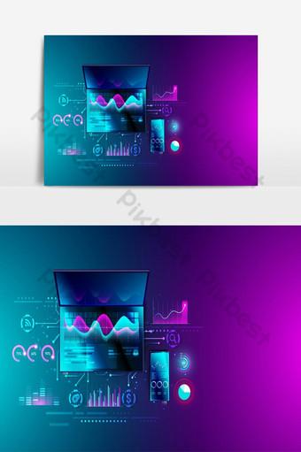 Análisis de estadísticas financieras en computadoras portátiles y teléfonos inteligentes con elementos gráficos vectoriales gráficos Elementos graficos Modelo EPS