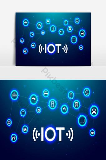 iot internet of thing o futuro elemento gráfico vetorial de tecnologia Elementos gráficos Modelo EPS