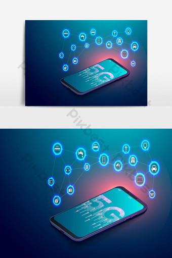 Red 5g en teléfonos inteligentes e internet iot de cosas con íconos voladores Elementos graficos Modelo EPS