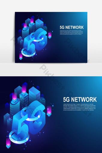 5g rede sem fio sistema 5ª internet telecomunicação cidade inteligente Elementos gráficos Modelo EPS