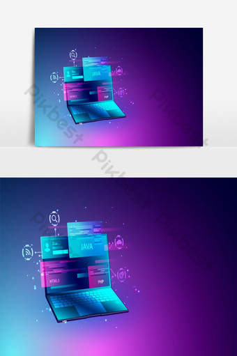Web development and programming coding concept SEO optimization Vector Graphics Element PNG Images Template EPS