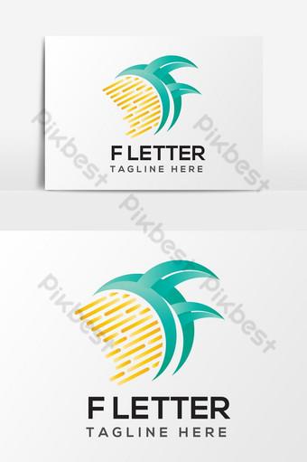 elemento de gráficos vectoriales de diseño de logotipo único de letra f Elementos graficos Modelo AI