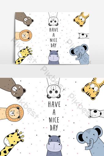 lindo adorable conjunto de animales dibujos animados doodle papel tapiz póster portada banner elemento de gráficos vectoriales Elementos graficos Modelo AI