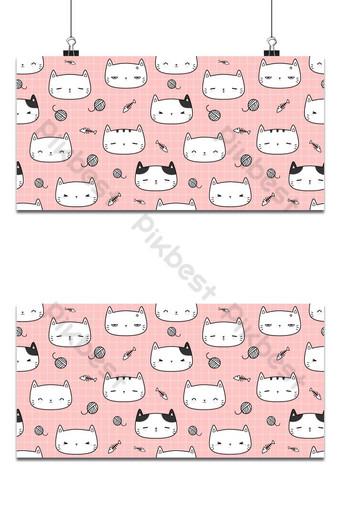 lindo, adorable, gato, gatito, cabeza, en, rosa, caricatura, garabato, seamless, patrón, plano de fondo Fondos Modelo AI