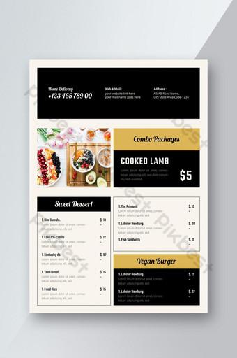 การออกแบบใบปลิวเมนูอาหารของร้านอาหาร แบบ AI