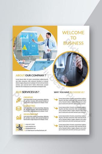 Thème de cercles Flyer brochure design modèle couverture couleur jaune Modèle AI