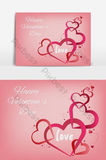 Fondo de corazón decorativo de corazón de San Valentín con elemento de gráficos vectoriales de amor de San Valentín Elementos graficos Modelo EPS