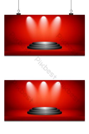 escenario y presentación del producto con luz deportiva sobre fondo rojo de estudio de sala de exposición Fondos Modelo AI