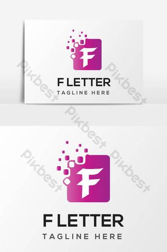elemento de gráficos vectoriales de diseño abstracto de logotipo de letra f Elementos graficos Modelo AI