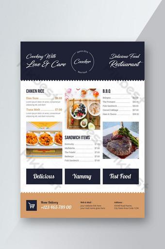قالب نشرة قائمة طعام مطعم قالب AI
