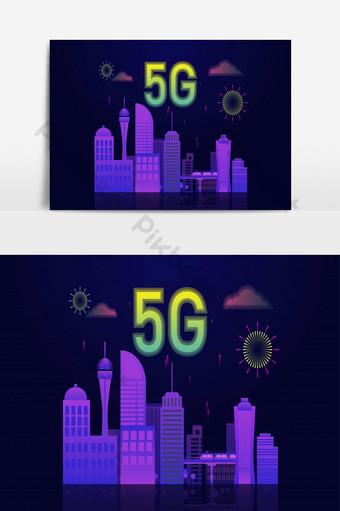 Internet 5g conectado con el concepto de ciudad inteligente Icono 5g en la parte superior de la ciudad Elementos graficos Modelo AI