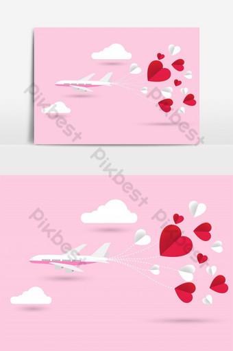 Tarjeta de invitación de amor día de San Valentín avión y corazón de papel sobre fondo abstracto Elementos graficos Modelo AI