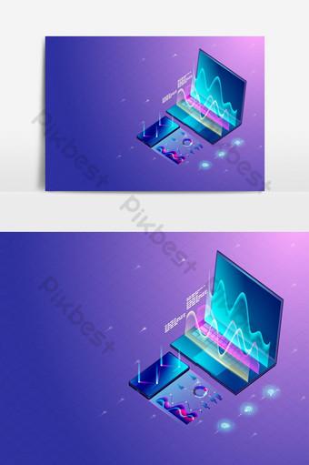 Investigación de marketing empresarial en computadoras portátiles y pantallas de teléfonos inteligentes y procesamiento de diagramas y gráficos. Elementos graficos Modelo AI