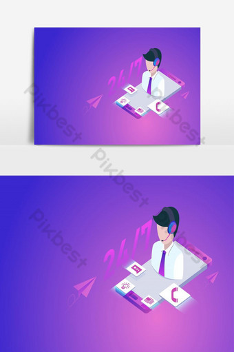 Customer or hotline service concept with smartphone, call center 24h PNG Images Template AI
