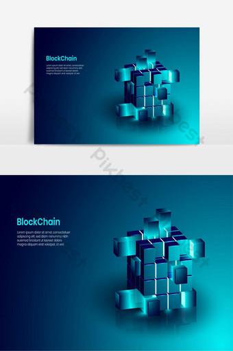 Blockchain isométrico e conceito de tecnologia de criptomoeda forma realista de blockchain Elementos gráficos Modelo AI
