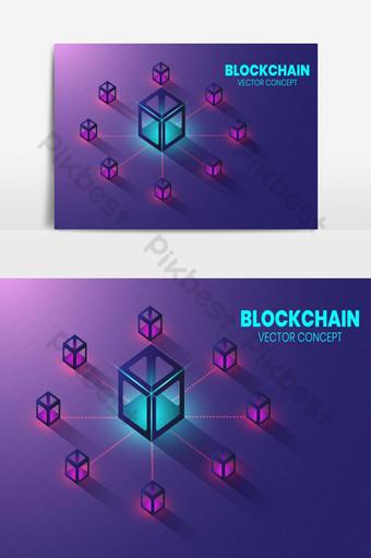Изометрическая концепция технологии блокчейн Форма цепочки блоков, соединенных вместе Графические элементы шаблон AI