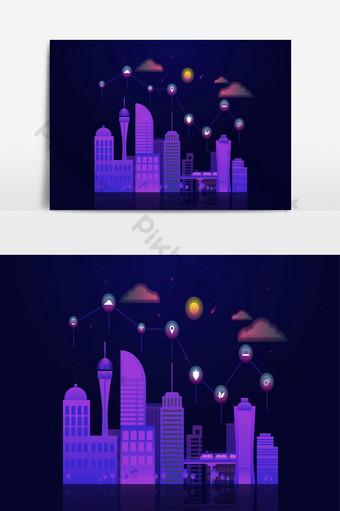 concepto de ciudad inteligente con paisaje urbano nocturno con elementos de iconos en la parte superior Elementos graficos Modelo AI