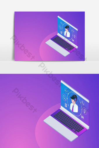 Customer or hotline service concept with laptop, call center 24h PNG Images Template AI