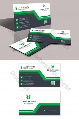Conception de carte de visite créative verte Modèle PSD