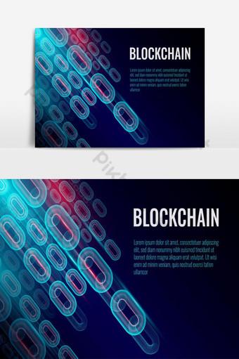 La cadena de fondo de la cadena de bloques consiste en un vector de concepto de conexiones de datos de red Elementos graficos Modelo EPS