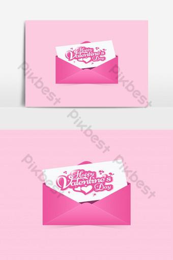 Invitation de carte de voeux Happy Valentines day avec abstrait enveloppe rose Éléments graphiques Modèle AI