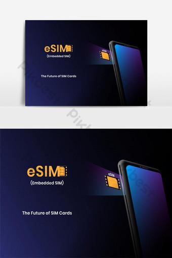 Concept technologique eSIM avec smartphone intégré sim la prochaine génération de cartes sim Éléments graphiques Modèle EPS