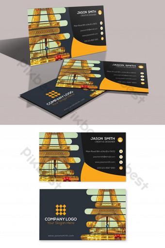 Conception de modèle de carte de visite impressionnante noir et orange 2019 Modèle PSD