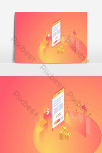 изометрическая добыча биткойнов на смартфоне концепции векторные иллюстрации Графические элементы шаблон EPS