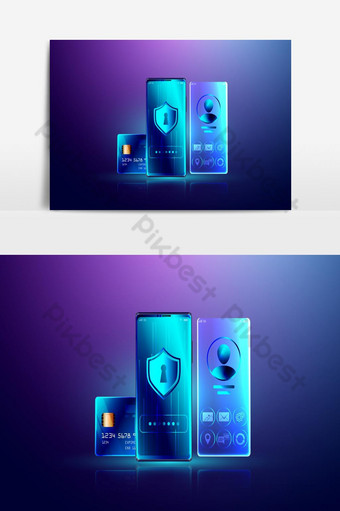 Data Protection system and secure personal information lock concept, safety online payment PNG Images Template EPS