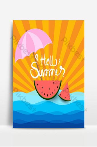 Fondo de verano con sandía bajo el paraguas y el sol Fondos Modelo AI