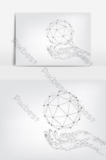 fundo de tecnologia geométrica mãos segurando conexões de rede global do globo Elementos gráficos Modelo EPS