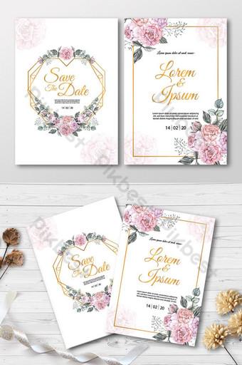 kartu undangan pernikahan dengan bunga mawar merah muda dan gambar cat air bingkai emas Templat AI