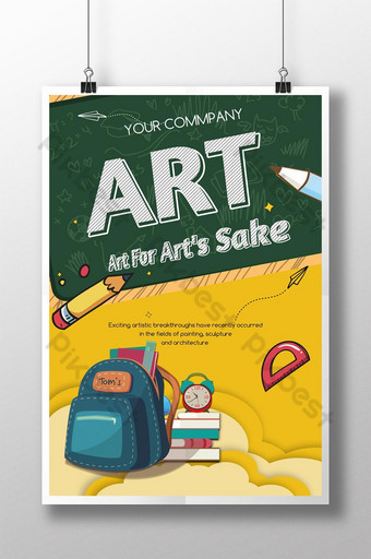 fresh and simple drawing school season poster Template PSD