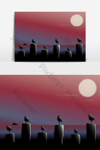 Silhouette Birds in the sea at night time. PNG Images Template AI