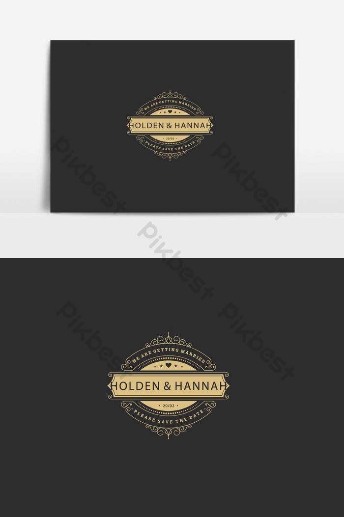 création de logo de mariage noir et jaune