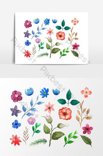 아름 다운 수채화 클립 아트 그래픽 요소 일러스트 템플릿 PSD