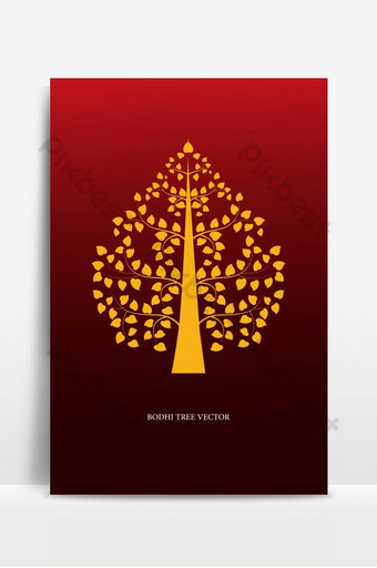 símbolo de árbol de bodhi de oro ilustración de vector de estilo de arte tailandés Fondos Modelo AI