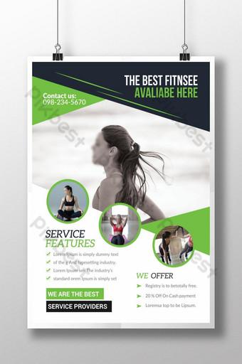 Flyer vert de gym de fitness professionnel Modèle PSD