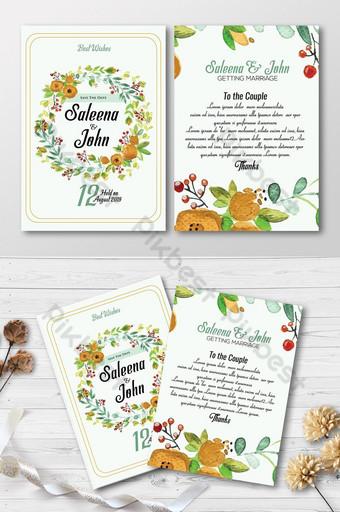 Cartes d'invitation recto verso florales aquarelle Modèle PSD