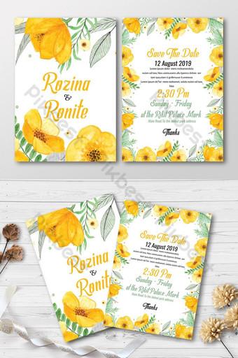 Cartes d'invitation florales jaunes Modèle PSD