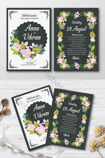 Cartes d'invitation florales élégantes Modèle PSD
