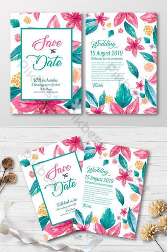 Cartes d'invitation de mariage floral aquarelle Modèle PSD