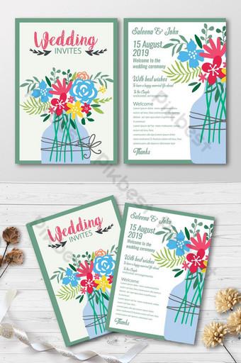Réservez la date avec des cartes d'invitation de vase à fleurs Modèle PSD