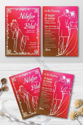 Cartes d'invitation ornements roses et blancs Modèle PSD